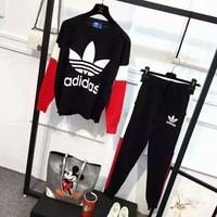 """Adidas"" Women Casual Multicolor Clover Letter Pattern Long Sleeve Trousers Set Two-Piece Sportswear"