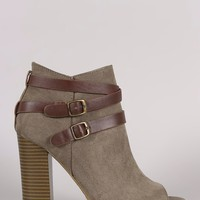 Bamboo Suede Buckled Strap Chunky Heeled Booties