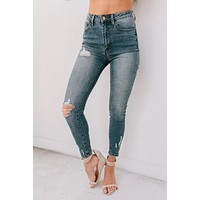 What You Needed High Rise Distressed Skinny Jeans (Dark)