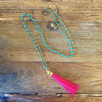 Luxe by Virtue Tassel on Rosary Beads Necklace- Hot Pink