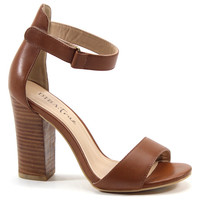 Diba True Shoes In Coming 4 Inch Heel Tan Leather Open Toe Sandals