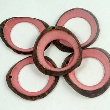 Tagua Donut Beads Pink Color Set of 7; craft supplies, jewelry making, eco-friendly beads, natural beads, seed beads, chunky bead