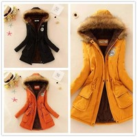 2018 Parkas Women Coats Fashion Autumn Warm Winter Jackets  Fur Collar Long  Hoodies Casual Cotton Outwear Hot 15colors
