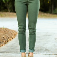 Stand Tall Olive Green Skinny Jeans