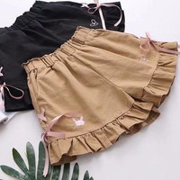 Mori Girl Embroidery Lace-up High Waist Shorts