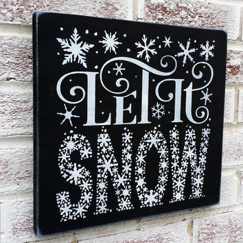 """Christmas Decoration, """"Let It Snow"""" Word Art typography style, subway, snowflakes, Christmas signs"""