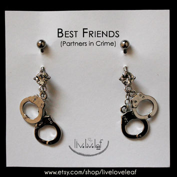 Silver Handcuffs Belly rings - Set of 2 Matching Best Friends or Partners in Crime Belly Button Barbell Rings Body Piercing Body Jewelry BFF
