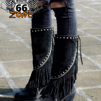 Handmade Women's Mid-Calf Cowboy Leather & Suede Fringe Boots
