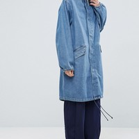 ASOS Denim Parka in Mid Blue Stonewash at asos.com