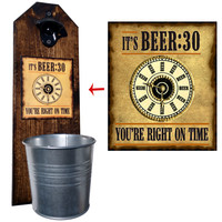 Beer Thirty Bottle Opener and Cap Catcher, Wall Mounted