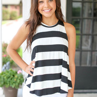 Rhythm and Strokes Tank - Black and Ivory