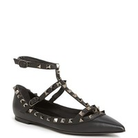 Women's Valentino 'Rockstud' Double Ankle Strap Pointy Toe Flat,
