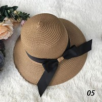 Women Summer Bowknot Straw Hats