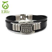 Route 66 Mens Bracelet - Genuine Leather