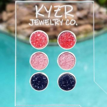 Druzy earring set- Watermelon/ Pink and Navy drusy stud set
