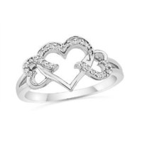 Amazon.com: Sterling Silver Round Diamond Triple Heart Ring (1/10 cttw): Jewelry