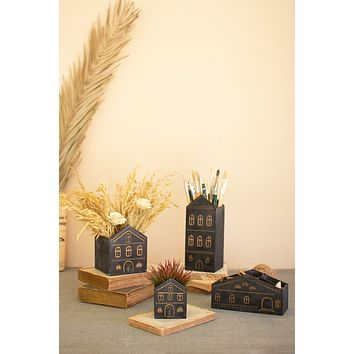 Set Of Four Wooden House Planters - Black