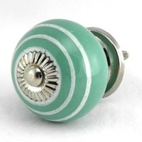 Teal White Stripe Onion Ceramic Cabinet Door Knob Set/4pc ~ K114 Kitchen Drawer Pulls and Handles. Hand Glazed Ceramic Knobs and Pulls with Polished Nickel Hardware for Dresser, Drawers, Cabinets or Vanity