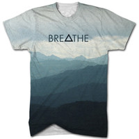 Breathe Triangle all over print t shirt