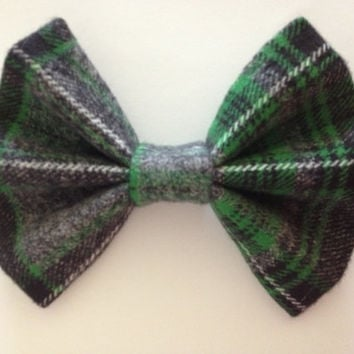 Green, Gray, and Black Flannel Plaid Fabric Hair Bow