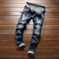 Slim Stretch Pants Fashion Ripped Holes With Pocket Jeans Skinny Pants [6541763139]