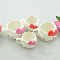 250ML 500ML Hello Kitty Bow Ceramic Mugs Cup With Gift Box