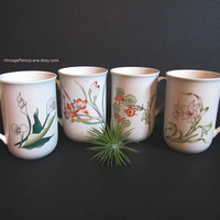 Vintage Botanical Ceramic Mugs, Coffee Cups, Korean Coffee Mugs, Set of 4