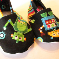 Robot Baby Boy Shoes / Robot Baby Booties / Cotton Boy Booties / Soft Baby Slippers / 0 - 24 months available
