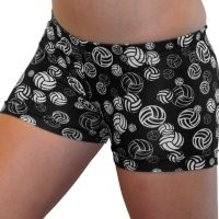 Volleyballs Spandex Shorts Inseam (6 In. Adult M 8-10, Black and White)