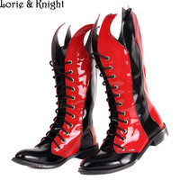 Gothic Black/Red Leather Punk Rock Men Boots Lace Up Hip Hop Rocker Boots Cosplay Martin Boots