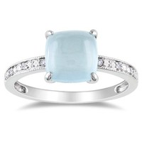 10k White Gold Milky Aquamarine and Diamond Ring, (0.03 cttw, G-H Color, I1-I2 Clarity)