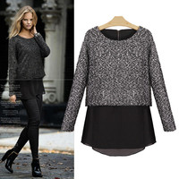 Smoke Grey Chiffon Long Sleeve Sweater