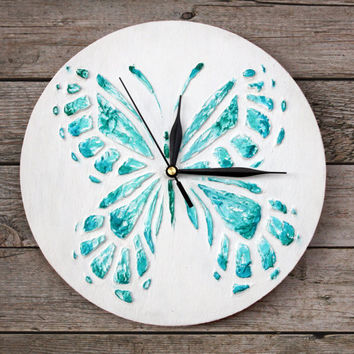 UNIQUE butterfly WALL CLOCK, white turquoise decor Blue Wall Clock