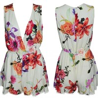 Womens Ladies V Neck Sleeveless Floral Jumpsuit & Romper Trousers Clubwear