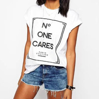 No One Cares Print Short Sleeve Graphic Tee