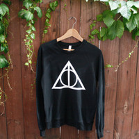 Unisex Deathly Hallows Harry Potter Raglan Pullover - Choose Size - MADE TO ORDER - American Apparel