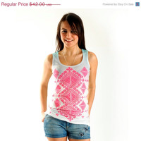 Sale 20% Off NEW Pink Aztec Women T shirt, one side printed