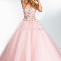 Cecelle 2016 Romantic Sweetheart Ball Gown Prom Dresses Beaded Bodice Corset Tie Back Pink Poofy Long Prom Gowns For High School