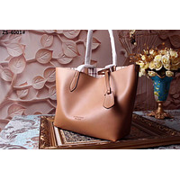 BURBERRY WOMEN HAYMARKET LEATHER TOTE BAG