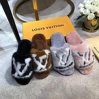 Louis Vuitton LV Printed Matching Letters Flat-Soled Household Open-Toed Slippers Shoes