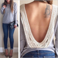 Gray Lace Open-Back Long-Sleeve Shirt