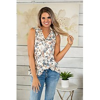 Picked for You V Neck Floral Blouse : Ivory/Blue/Tan