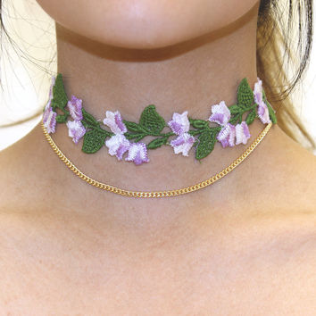 Vintage Purple Tulip Trim Choker