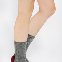 Two-Tone Plated Cable-Knit Crew Sock