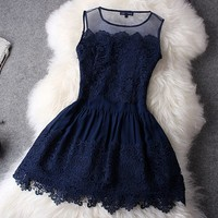 Buy Perfect Hollow Out With Lace Dress on Shoply.