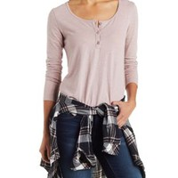 Slub Knit Henley Top by Charlotte Russe
