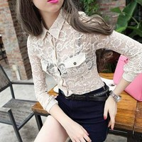See Through White Floral Lace Crochet Long Sleeve Blouse