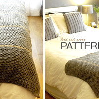 Crochet PATTERN: Striped Bed End Cover -  INSTANT DOWNLOAD