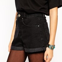 ASOS High Waist Denim Mom Short In Black at asos.com