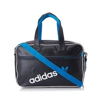 Adidas Originals Holdall Perforated Leather Retro Shoulder Duffel Bag Black Blue